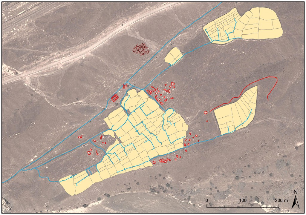 village and field system along the Falaj al Mutaridh investigated in 2014
